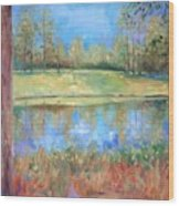Cherry Moon Pond Wood Print