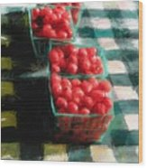 Cherry Tomato Basket Wood Print by RG McMahon