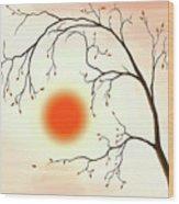 Cherry Tree In Fall Wood Print