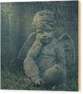 Cherub Lost In Thoughts Wood Print