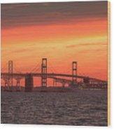 Chesapeake Bay Bridge Sunset Wood Print