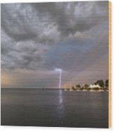 Chesapeake Bay Rainbow Lighting Wood Print
