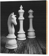 Chess Pieces On Old Wood Wood Print