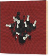 Chessboard And 3d Chess Pieces Composition On Red Wood Print