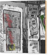Chesterfield And Lucky Strike Cigarette Signs S. Meyer Avenue Barrio, Tucson, Az 1967-2016 Wood Print