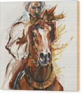 Cheval Arabe Monte En Action Wood Print