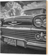 Chevrolet Biscayne 1958 In Black And White Wood Print
