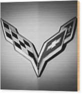 Chevrolet Corvette Emblem -0406bw Wood Print