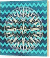 Chevron Print Compass Blue Wood Print