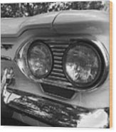 Chevy Corvair Headights And Bumper Black And White Wood Print