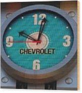 Chevy Neon Clock Wood Print