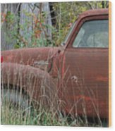 Chevy Truck Rusting Along Road Wood Print