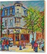 Chez Vito Rue Fairmount Landmark Architecture Beautiful Summer Scene Montreal 375 Carole Spandau Art Wood Print