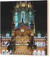 Chhatrapati Shivaji Terminus Formerly Victoria Terminus In Mumbai-3 Wood Print