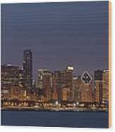 Chicago After Dusk Wood Print