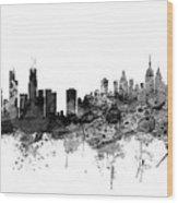 Chicago And New York City Skylines Mashup Wood Print