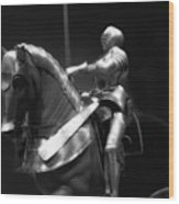Chicago Art Institute Armored Knight And Horse Bw 01 Wood Print