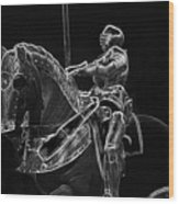 Chicago Art Institute Armored Knight And Horse Bw Pa 02 Wood Print