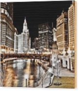 Chicago At Night At Wabash Avenue Bridge Wood Print
