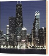 Chicago At Night High Resolution Wood Print