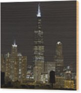 Chicago At Night I Wood Print