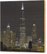 Chicago At Night I Wood Print
