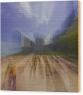 Chicago Beach Zoom Blur Wood Print