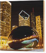 Chicago Bean Cloud Gate At Night Wood Print by Paul Velgos