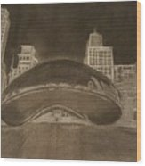 Chicago Bean Wood Print