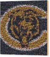Chicago Bears Bottle Cap Mosaic Wood Print by Paul Van Scott