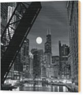 Chicago Black And White Nights Wood Print