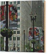 Chicago Blackhawk Flags Wood Print