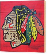 Chicago Blackhawks Hockey Team Vintage Logo Made From Old Recycled Illinois License Plates Red Wood Print