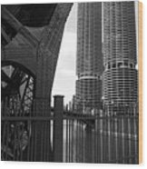Chicago Bridge And Buildings Wood Print