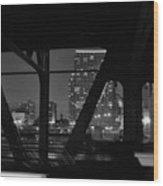 Chicago Bridge Night Wood Print