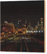 Chicago By Night Wood Print