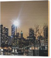 Chicago City At Night Wood Print