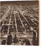 Chicago City Lights West B W Wood Print