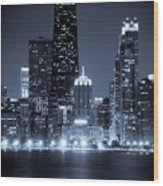 Chicago Cityscape At Night Wood Print