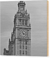 Chicago Clock Tower Wood Print