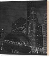 Chicago Cloud Gate Night Wood Print