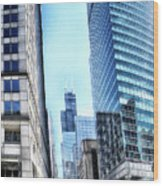 Chicago Concrete Canyons Wood Print
