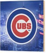 Chicago Cubs Baseball Wood Print