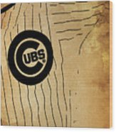 Chicago Cubs Baseball Team Vintage Card Wood Print