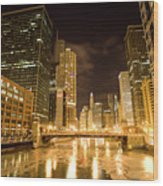 Chicago Downtown City  Night Photography Wood Print
