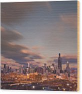 Chicago Dusk Wood Print