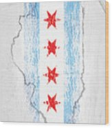 Chicago Flag Wood Print