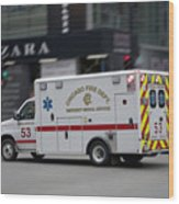 Chicago Fire Department Ems Ambulance 53 Wood Print