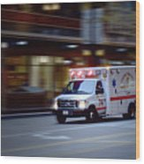 Chicago Fire Department Ems Ambulance 74 Wood Print