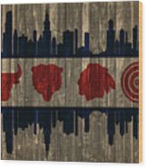 Chicago Flag Barn Door Wood Print